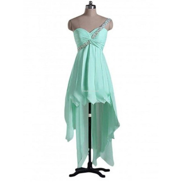 Asymmetrical One Shoulder With Beading Lace-up Green Party Dress New Arrival