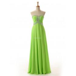 Smple Long Green Chiffon Zipper Black Column Strapless Evening Dress