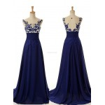 Floor Length Nary Blue Dress Keyhole Back With Lace Evening Drtess New Arrival