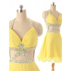Gorgeous Yellow Criss Cross Straps Handmade Beading Prom Dress