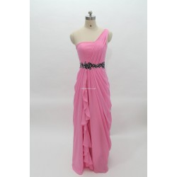 Floor Length Pink Zipper Back One Shoulder Bridesmai Dress With Side Draping