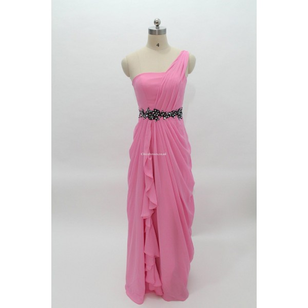 Floor Length Pink Zipper Back One Shoulder Bridesmai Dress With Side Draping New Arrival