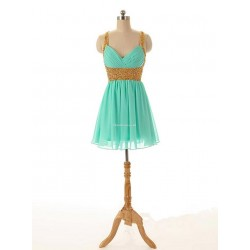 Sexy Green Chiffon Criss Cross Straps Party Dress With Beading