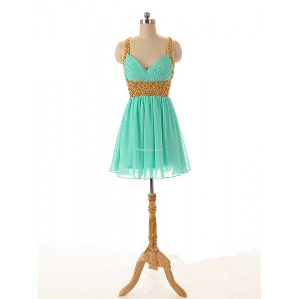 Sexy Green Chiffon Criss Cross Straps Party Dress With Beading New Arrival