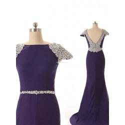 Long Blue Chiffon V-neak Back Cocktail Dress With Beading