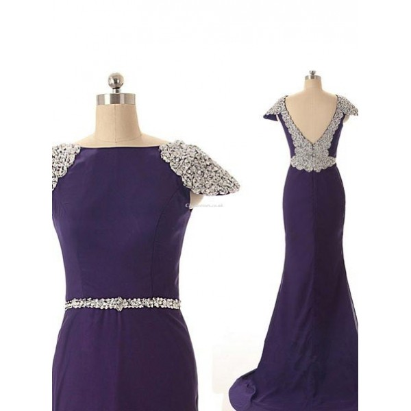 Long Blue Chiffon V-neak Back Cocktail Dress With Beading New Arrival