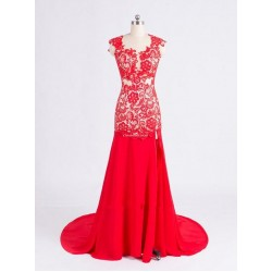 Floor Length Red Chiffon Open Back Formal Dress  With Lace