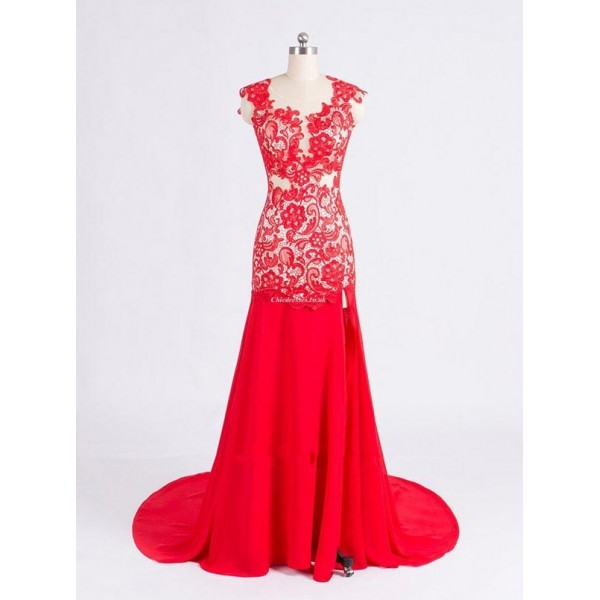 Floor Length Red Chiffon Open Back Formal Dress With Lace New Arrival