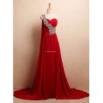 Amazing Long Strapless Red One Shoulder Formal Dress With Sequins New Arrival