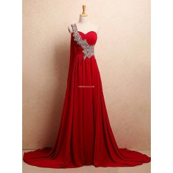 Amazing Long Strapless Red One Shoulder Formal Dress With Sequins