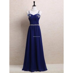 Floor Length Blue Zipper Lace Criss Cross Straps Back Spaghetti Straps Evening Dress With Sequins