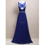 Floor Length Blue Zipper Lace Criss Cross Straps Back Spaghetti Straps Evening Dress With Sequins New Arrival