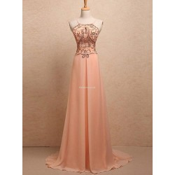 Floor Length Champagne With Beading Sequins Spaghetti Straps Cocktail Dress