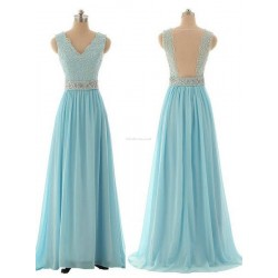 V-neck Long Blue With Lace Wait Belt Bead Bridesmaid Dress
