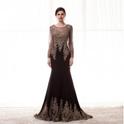 Formal Evening Dress - Black Plus Sizes / Petite Trumpet/Mermaid Jewel Floor-length Spandex / Jersey