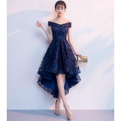 High Low Cocktail Dresses Lace Navy Blue Prom Dress