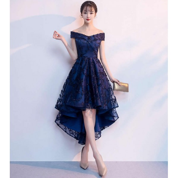 High Low Cocktail Dresses Lace Navy Blue Prom Dress Cocktail Dresses