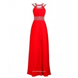 A Line Floor Length Red Slit Party Dress Beaded Straps With Sparkling Waist Bridesmaid Dress