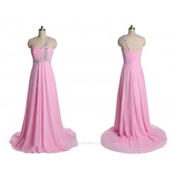 A-line Long Chiffon Pink Zipper Back One Shoulder With Sequins Bridesmaid Dress
