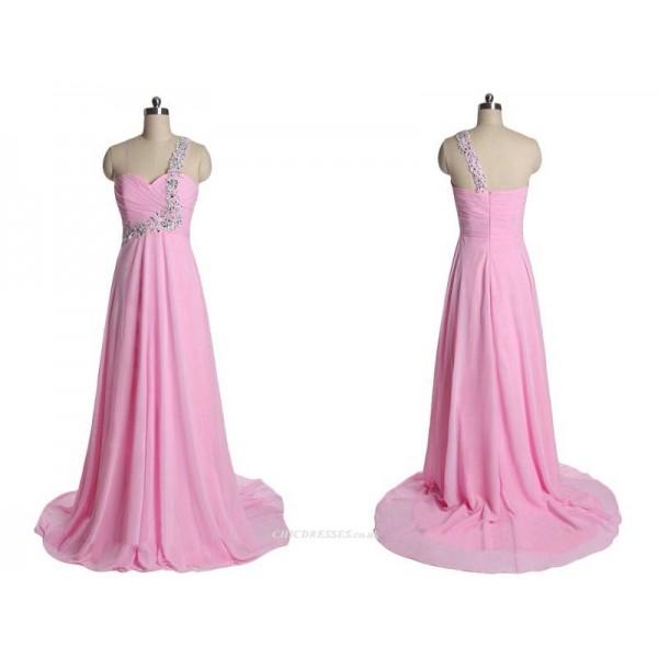A-line Long Chiffon Pink Zipper Back One Shoulder With Sequins Bridesmaid Dress New Arrival