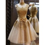 Sexy Knee Length Yellow Tulle High Neck With Bowknot Bridesmaid Dress New Arrival
