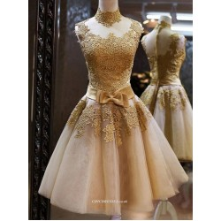 Sexy Knee Length Yellow Tulle High Neck With Bowknot Bridesmaid Dress
