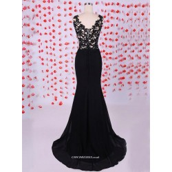 MermaidTrumpet Black Evening Dress V-neck Sleeveless With Lace Prom Dress