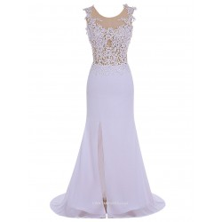 MermaidTrumpet Elegant White Slit Evening Dress V-neck Sleeveless With Lace Prom Dress