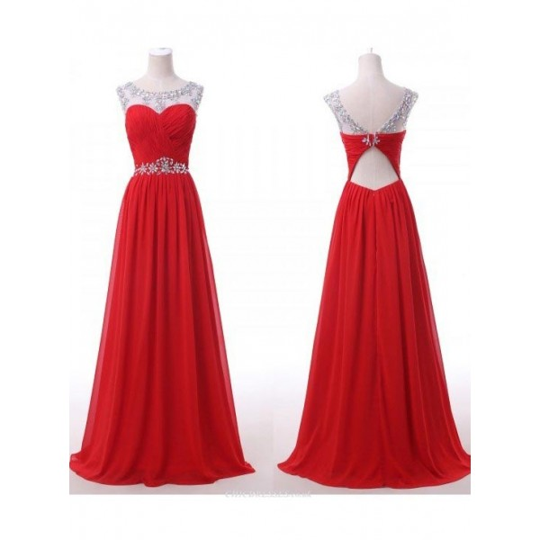 A-Line Sweetheart Floor Length Red Chiffon V-neck Back Straps With Beading Formal Dress New Arrival