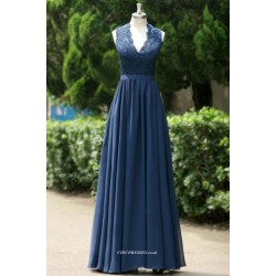 Royal Blue Floor Length Prom Dress V-neck Open Back Evening Dress With Lace