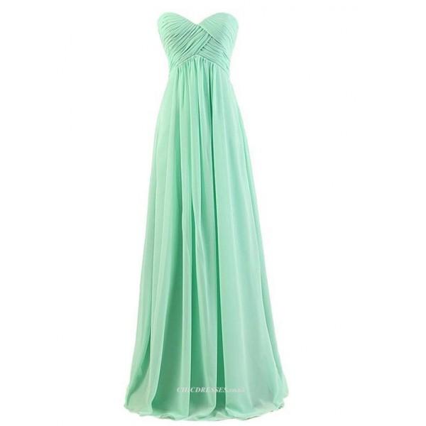 A-line Floor Length Green Chiffon Zipper Back Strapless BridesmaidEvening Dress New Arrival