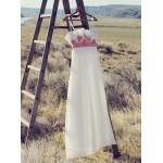 Elegant Long White Chiffon Spaghetti Straps Handmade Flowers Bridesmaid Dress New Arrival