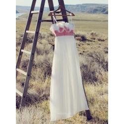 Elegant Long White Chiffon Spaghetti Straps Handmade Flowers Bridesmaid Dress