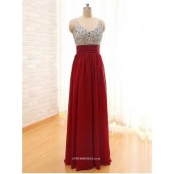 A-line Floor Length Chiffon V-neck With Beading Evening Dress
