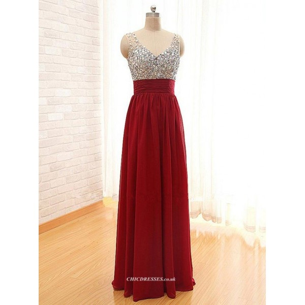 A-line Floor Length Chiffon V-neck With Beading Evening Dress New Arrival