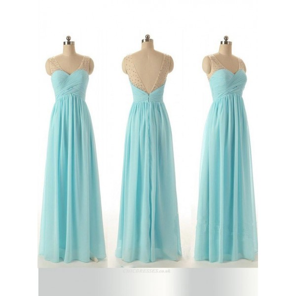 Floor Length V-neck Zipper Back Bridesmaid Dress With Beading New Arrival