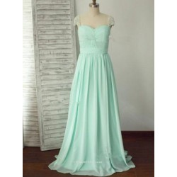 Floor Length Green Chiffon Straps With Beading Bridesmaid Dress