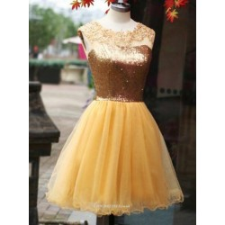 Short/Mini Princess Sequins Bodice Yellow Organza Party/Bridesmaid Dress