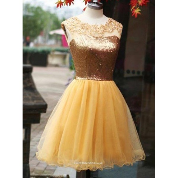 Short/Mini Princess Sequins Bodice Yellow Organza Party/Bridesmaid Dress New Arrival