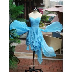 Asymmetrical Blue Handmade Beading Sweethear Bridesmaid Dress