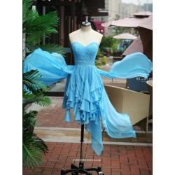 Asymmetrical Blue Handmade Beading Sweethear Bridesmaid Dress