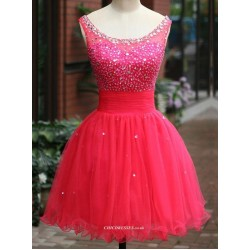 New Red Open Back With Sequins Mini Princess Party/Bridesmaid Dress