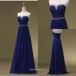 Floor Length Royal Blue Evening Dress Zipper Back Column Strapless Bridesmaid Dress With Beading