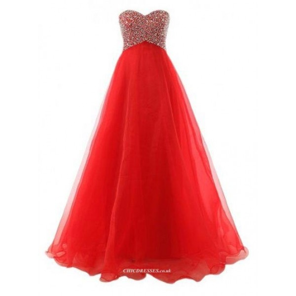 Floor Length Red Dress Lace-Up Column Strapless Evenging Dress With Beading New Arrival