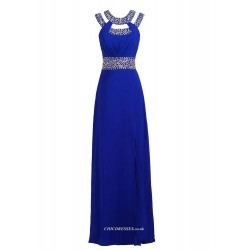 A Line Floor Length Slit Party Dress Beaded Straps With Sparkling Waist Bridesmaid Dress