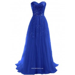 Gorgeous Long Tulle Column Strapless With Sequins Evening Dress