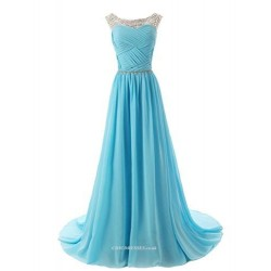 Sexy Long Blue Chiffon Chicdress V Neck Zipper Back Straps With Beading Evening Dress