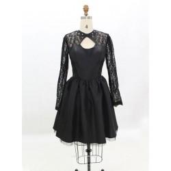 Cheap Bridesmaid Dresses Black Lace Long Sleeves