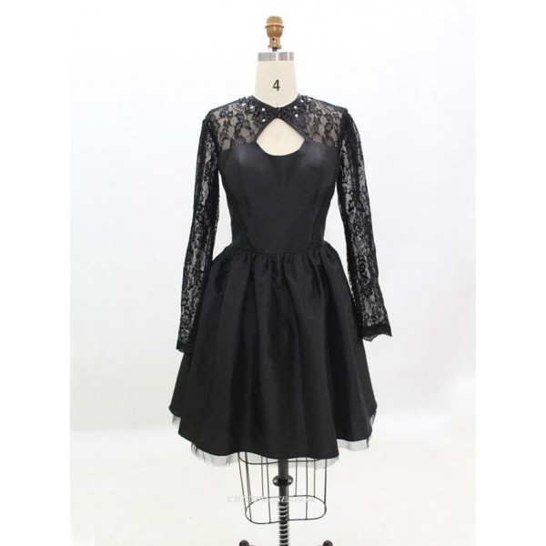 Cheap Bridesmaid Dresses Black Lace Long Sleeves New Arrival