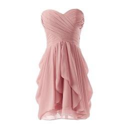 Simple Knee Length Zipper Back Column Strapless Evening Dress With Ruffles